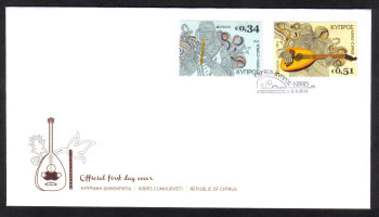 Cyprus Stamps SG 1320-21 2014 Europa National Music Instruments  - Official FDC