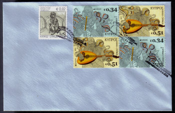 Cyprus Stamps SG 2014 (c) Europa National Music Instruments  - Booklet pane Unofficial FDC (h779)