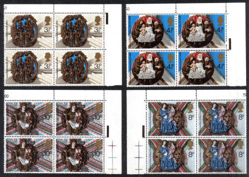 British Stamps 1974 Christmas - Blocks of 4 MINT (h790)