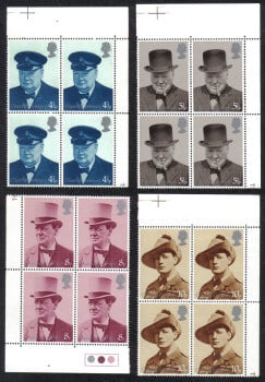 British Stamps 1974 Winston Churchill Centenary of his birth - Block of 4 MINT (h791)