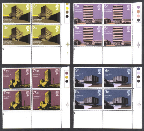 British Stamps 1971 British Architecture Buildings - Blocks of 4 MINT (h798