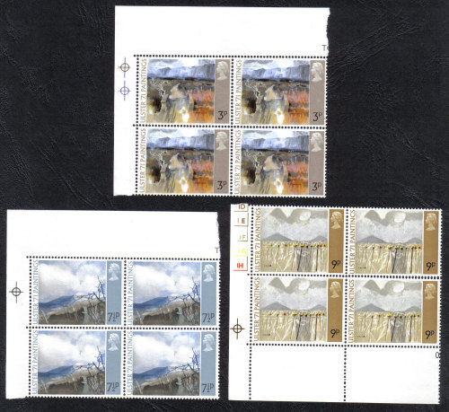 British Stamps 1971 Ulster Art Paintings - Blocks of 4 MINT (h797)