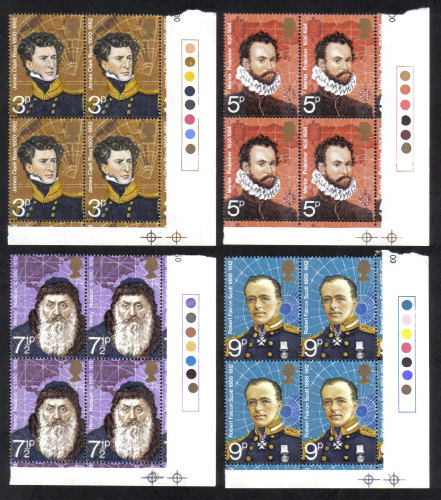 British Stamps 1972 British Polar Explorers - Blocks of 4 MINT (h800)