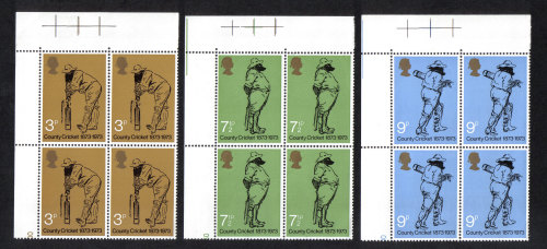 British Stamps 1973 County Cricket - Blocks of 4 MINT (h804)
