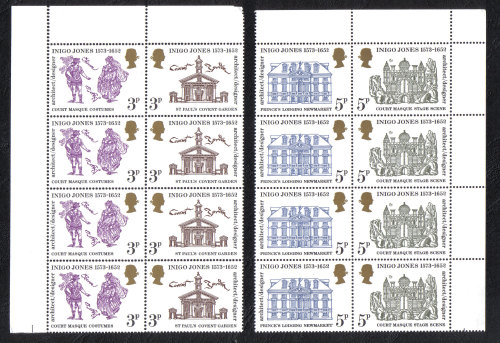 British Stamps 1973 Inigo Jones - Blocks of 4 MINT (h806)