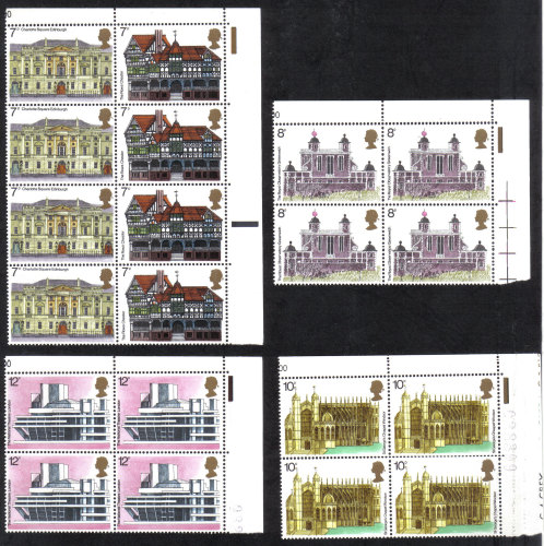 British Stamps 1975 European Architectural Heritage year - Blocks of 4 MINT