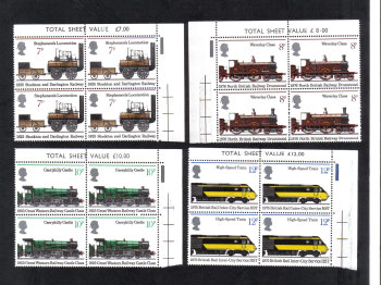 British Stamps 1975 Railways and Trains - Blocks of 4 MINT (h796)