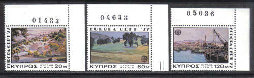 Cyprus Stamps SG 482-84 1977 Europa Landscapes - Control numbers MINT (h619