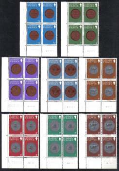 Guernsey Stamps 1979 Coins Full set - Cylinder Blocks of 4 MINT (z512)