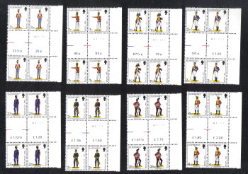 Guernsey Stamps 1974 Militia Full set - Gutter pair and Cylinder Blocks of 4 MINT (z552)