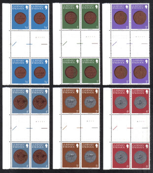 Guernsey Stamps 1979 Coins Full set - Cylinder Blocks of 4 Gutter Pairs MINT (z553)