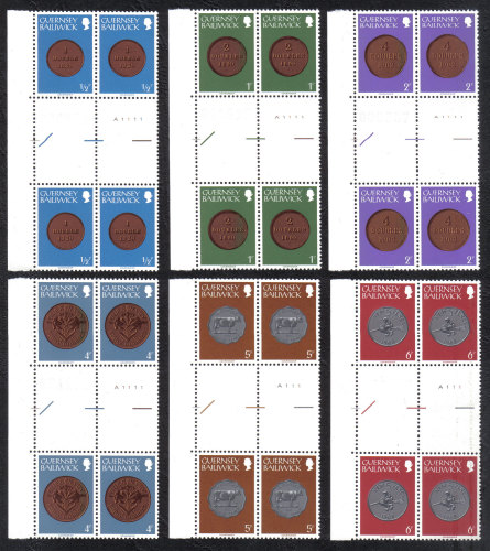 Guernsey Stamps 1979 Coins Full set - Cylinder Blocks of 4 Gutter Pairs MIN