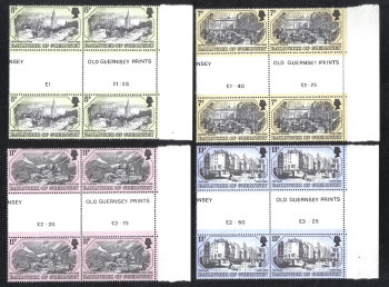 Guernsey Stamps 1978 Old Prints - Blocks of 4 Gutter Pairs MINT (z517)