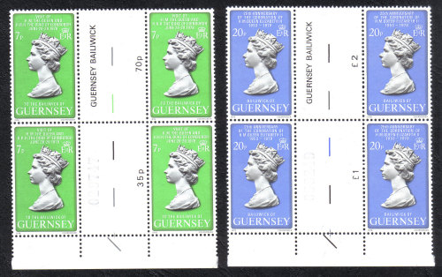 Guernsey Stamps 1978 Queens Visit - Blocks of 4 Gutter pairs MINT (z519)