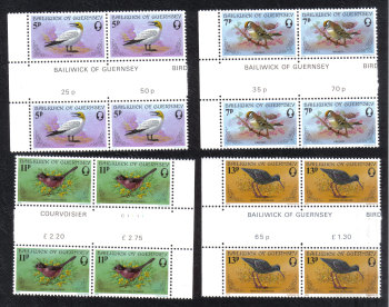 Guernsey Stamps 1978 Birds - Blocks of 4 Gutter pairs MINT (z521)