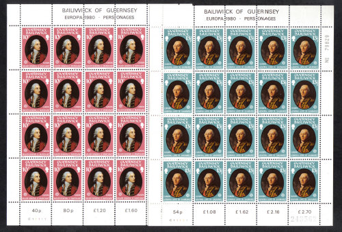 Guernsey Stamps 1980 Europa Famous People - Full sheets MINT (z560)