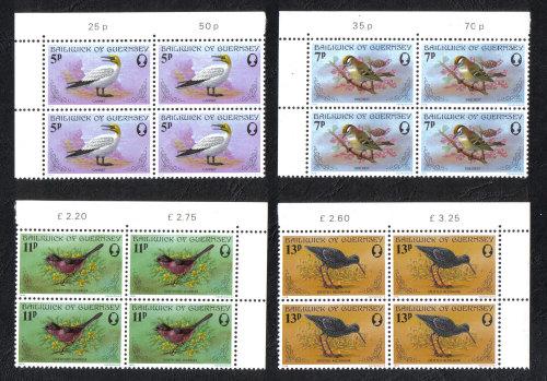 Guernsey Stamps 1978 Birds Blocks of 4 - MINT (z561)