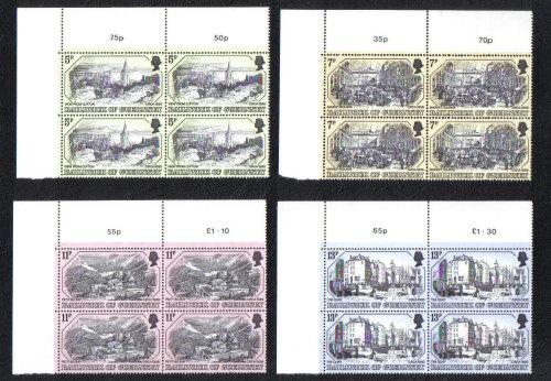 Guernsey Stamps 1978 Old Prints - Blocks of 4 MINT (z563)