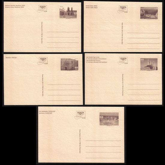 North Cyprus Stamps Pre-paid Postcard 2011 60 KURUS - Full set of 5 MINT (back view)