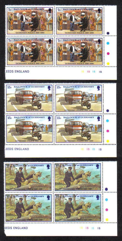 Guernsey Stamps 1980 Police Service - Blocks of 4 MINT (z570)