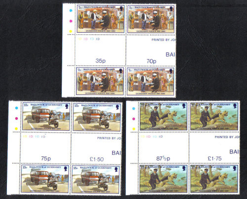 Guernsey Stamps 1980 Police Service - Gutter pairs MINT (z574)