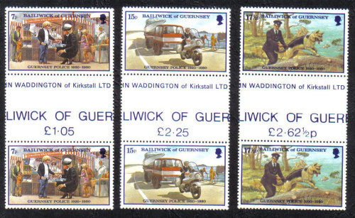 Guernsey Stamps 1980 Police Service - Gutter pairs MINT (z575)