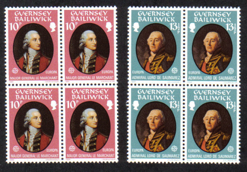 Guernsey Stamps 1980 Europa Famous People - Blocks of 4 MINT (z580)