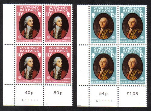 Guernsey Stamps 1980 Europa Famous People - Blocks of 4 MINT (z581)