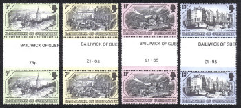 Guernsey Stamps 1978 Old Prints - Gutter Pairs MINT (z586)