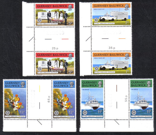 Guernsey Stamps 1977 Christmas and St Johns Ambulance - Gutter pairs MINT (