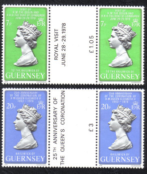 Guernsey Stamps 1978 Queens Visit - Gutter pairs MINT (z590)