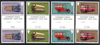 Guernsey Stamps 1979 Public Transport - Gutter pairs MINT (z596)