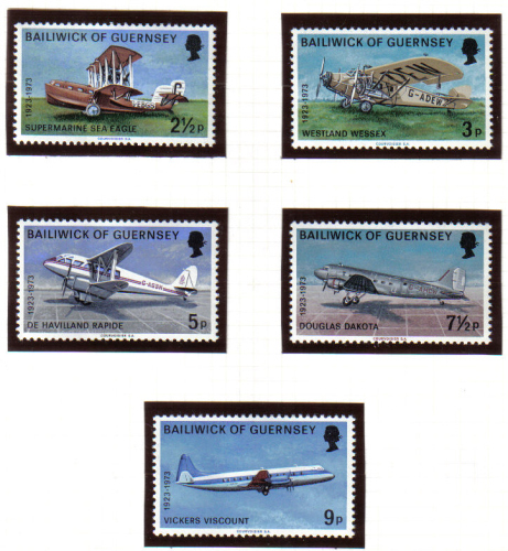 Guernsey Stamps 1973 Air Service Aeroplanes - MINT (z609)