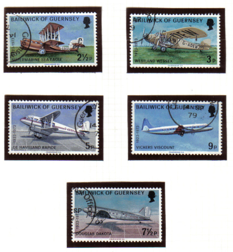 Guernsey Stamps 1973 Air Service Aeroplanes - USED (z610)