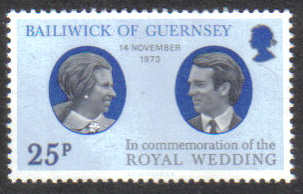 Guernsey Stamps 1973 Royal Silver Wedding Princess Anne - MINT (z611)