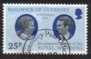 Guernsey Stamps 1973 Royal Silver Wedding Princess Anne - USED (z612)