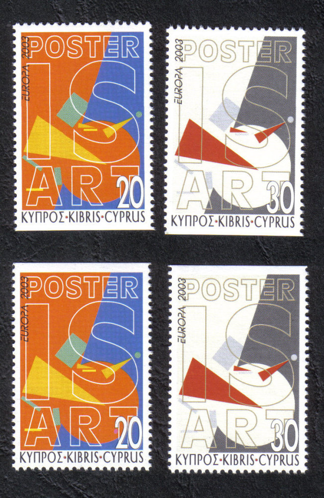 Cyprus Stamps SG 1051a-1052a 2003 Europa Poster Art Booklet stamps - MINT (