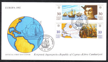 Cyprus Stamps SG 818-21 1992 Europa The discovery of America USA - Official FDC