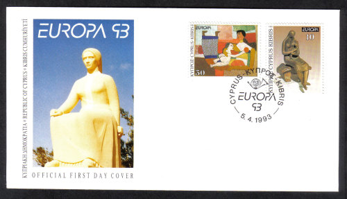 Cyprus Stamps SG 831-32 1993 Europa Contemporary Art - Official FDC