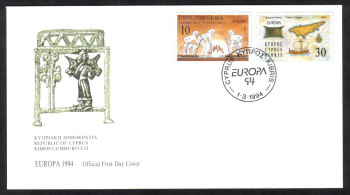 Cyprus Stamps SG 847-48 1994 Europa Discoveries - Official FDC