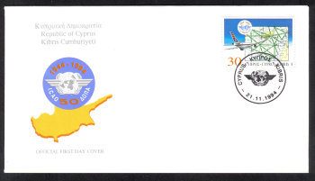 Cyprus Stamps SG 859 1994 ICAO Airplanes - Official FDC