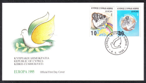Cyprus Stamps SG 883-84 1995 Europa Peace and Freedom - Official FDC