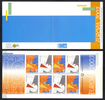 Cyprus Stamps SG 1051a-1052a (SB5) 2003 Europa Poster art - Booklet MINT