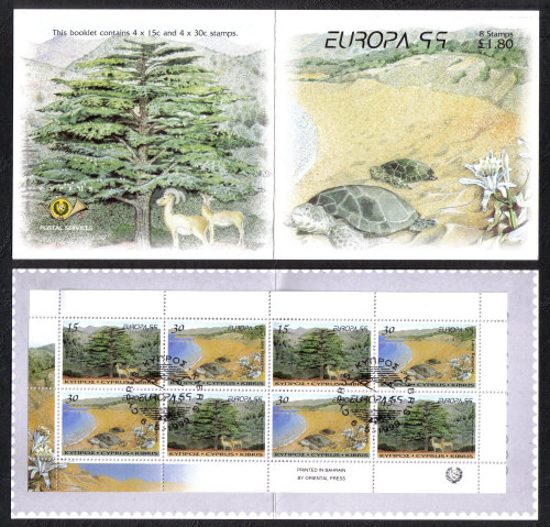 Cyprus Stamps SG 969-70 (SB2) 1999 Europa parks and gardens - Booklet USED