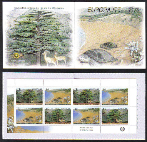 Cyprus Stamps SG 969-70 (SB2) 1999 Europa parks and gardens - Booklet MINT