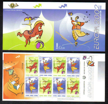 Cyprus Stamps SG 1029-30 (SB4) 2002 Europa Circus - Booklet MINT