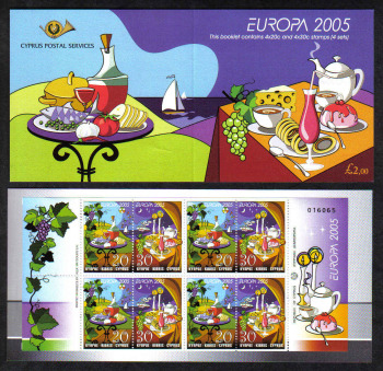 Cyprus Stamps SG 1096-97 (SB7) 2005 Europa Gastronomy - Booklet MINT