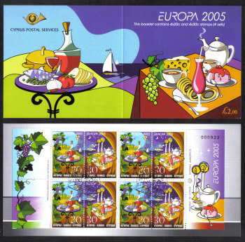 Cyprus Stamps SG 1096-97 (SB7) 2005 Europa Gastronomy - Booklet USED