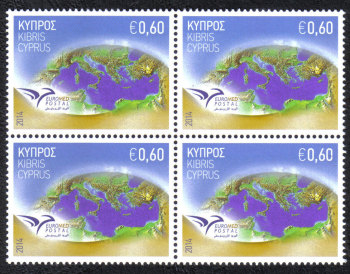 "Cyprus Stamps SG 1326 2014 Euromed Postal Joint Issue ""The Mediterranean"" - block of 4 MINT"
