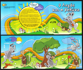 Cyprus Stamps SG 1255-59 2011 Aesops Fables The Hare and the Tortoise - Booklet MINT